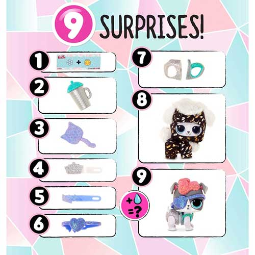 Listado con las 9 sorpresas de las LOL Surprise Winter Disco Fluffy Pets